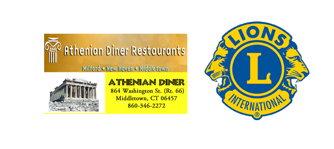 Image of the Athenian Diner logo and information along ith the Gold and dark blue Lions Logo